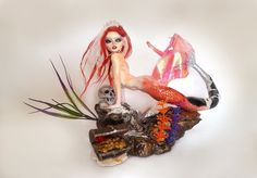 TETI NYMPH OF THE SEA ooak polymer sculpture by Art of Chiara