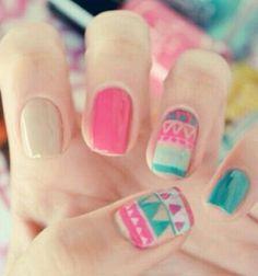 Summer aztec nails summer spring nails diy nail art diy ideas do it yourself diy nails nail designs aztec nails Nail Art Tribal, Tribal Nails, Spring Nail Art, Spring Nails, Summer Nails, Pink Summer, Love Nails, Pretty Nails, Nail Art Designs