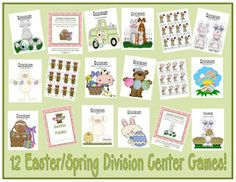 "Fern Smith's Twelve Easter / Spring Themed Division Center Games This 103 Paged Easter / Spring Themed Center Game has one game for every division ""Times Table"" ~ One to Twelve!!"