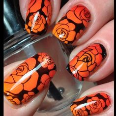 Late with my #40greatnailartideas mani but here it is! This weeks theme was 3 shades of red/orange; I had added prompt of roses. Used @picturepolish Citrus and Vegas with Sonia Kashuk Tango Mango for base. Stamped using images from @uberchicbeauty 1-02 and 4-01. by canadiannailfanatic