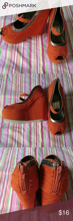 Funky David Isaac orange platform wedge shoes Orange layered fabric with gold trim.  New without tags.  Zipper backs.  Open toe with ruffle. David Isaac Shoes Platforms