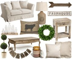 slipcovered sofa//grain sack lamp//wooden arrow//farmhouse sign//glass bottle set with tray//cattle feed pillow//wreath//distressed end table//topiary//coffee table//welcome banner//candle//canvas …