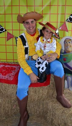 Toy Story birthday party: Jessie and uncle Robert as Woody Toy Story Birthday, Woody, Birthday Parties, Party Ideas, Toys, Dress, Toy Story Party, Costume, Boats