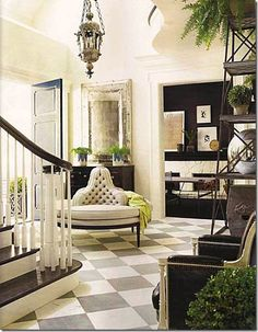 Bateig Blue Limestone marbled floor makes the perfect ENTRYWAY The green elements from the porch flow inside. The fantastic waiting sofa naturally complete the awesome entrance look (House of Windsor)