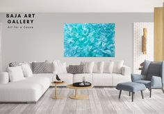 Large Abstract Teal Painting Original Acrylic Painting on Blue Living Room Decor, Living Room Art, Marble Art, Wall Decor, Wall Art, Interior Photo, Acrylic Painting Canvas, Unique Colors, Art Ideas