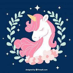 Unicorn illustration navy and pink