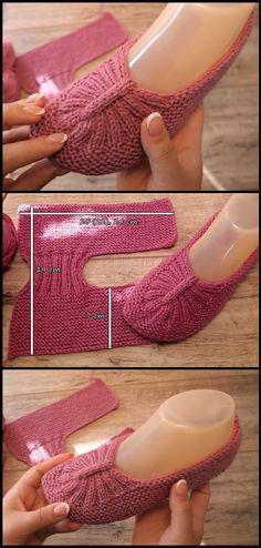 Crochet Coat, Knitted Slippers, Crochet Slippers, Crochet House, Baby Booties Knitting Pattern, Crochet Shoes Pattern, Knit Slippers Free Pattern, Knitting Designs, Knitting Patterns