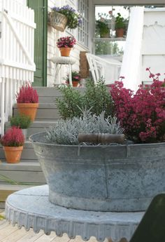 Beautiful antique metal tub planter