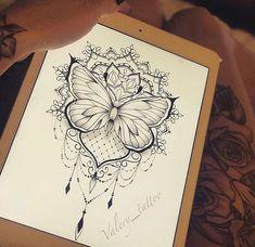 diseños de tatuajes 2019 Add to my existing butterfly - Tattoo Designs Photo Butterfly Mandala Tattoo, Dotwork Tattoo Mandala, Tattoo Henna, Arm Tattoo, Butterfly With Flowers Tattoo, Tattoo Art, Pretty Tattoos, Love Tattoos, Beautiful Tattoos