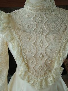 Wedding dress 1970s vintage bridal gown 70s does victorian lace pearls ruffles