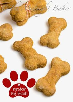 2 Ingredient Dog Biscuits | bakeatmidnite.com | #HomemadeDogBiscuits #DogTreats #PetTreats