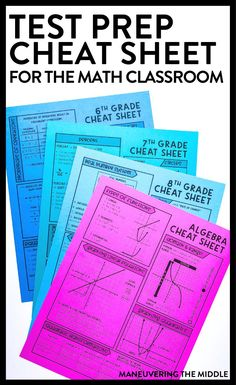 Test Prep Cheat Sheets for Middle School Math + Algebra 1 Maths Algebra, Math Test, Math Math, Math Fractions, Math Teacher, Teaching Math, Algebra Cheat Sheet, 8th Grade Math, Ninth Grade