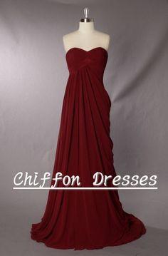 Long Bridesmaid Dress, Chiffon Bridesmaid Dress, Party/ Prom/ Dress, Bridesmaid Dress Long, Bridesmaid Dress Long, Dark Red Bridesmaid Dress on Etsy, $109.00
