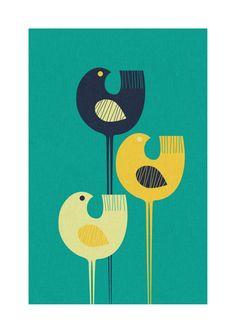Wading Birds art print by Pixelpants, via Behance