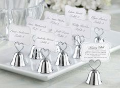 Kissing bells that also act as wedding table place card holder and make a great photo holder wedding favor for your guests. Wedding Kiss, Irish Wedding, On Your Wedding Day, Wedding Bells, Wedding Bride, Horse Wedding, Cinderella Wedding, Luxury Wedding, Wedding Dresses