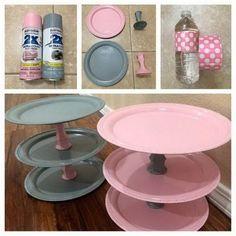 diy torre cupcakes pratos