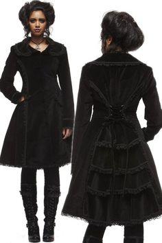 Crazy Doll Black Velvet Gothic Coat with Bustle