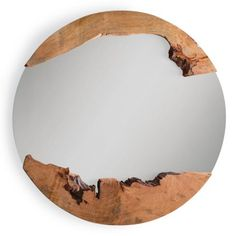 DecMode Natural Round Wall Mirror with Brown Woodcuts - 47 diam. Large Round Mirror, Round Wall Mirror, Round Mirrors, Mirror Crafts, Diy Mirror, Wood Home Decor, Home Decor Furniture, Tribal Decor, Entry Way Design