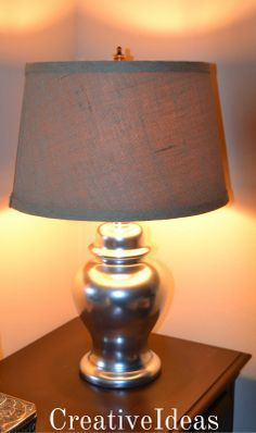 Thrift Store Lamp ~ redone with KRYLON Silver Foil Metallic spray paint shown with Burlap drum shade