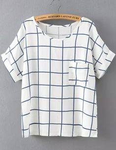 Shop White Blue Short Sleeve Plaid Pocket T-Shirt online. abaday offers White Blue Short Sleeve Plaid Pocket T-Shirt & more to fit your fashionable needs.Like the style and color as long as it's not too baggy. Fall Outfits, Casual Outfits, Fashion Outfits, Shirt Blouses, Shirts, Best Wear, Latest Street Fashion, New Wardrobe, Work Attire