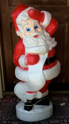 vintage christmas santa claus blow mold plastic light up holiday decoration union - Vintage Plastic Outdoor Christmas Decorations