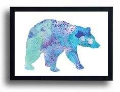 Blue Bear Watercolor Art Print Bear poster Winter Wall Decor Bear Painting Home Decor Animal watercolor Bear Illustration Baby Boy Nursery