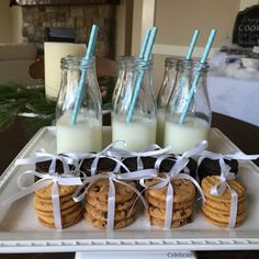 Cookies and milk for a Winter Wonderland party. Other ideas, printables and tips!!  #giftdeliciously #ad