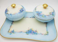 Magnificent Hand Painted Vanity Set with Hair Reciever M Robb Artist European Porcelain