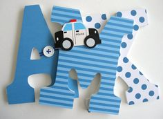 Custom Decorated Wooden Letters POLICE Theme Nursery by LetterLuxe
