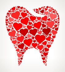 Tooth Red Hearts Love Pattern vector art illustration