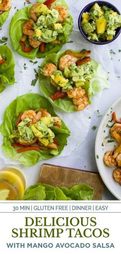 Easy 30 minute Grilled Shrimp Tacos topped with a fresh Mango Avocado Salsa. These flavor bursting gluten free tacos make the perfect light healthy dinner your family will love! #shrimp #tacos #healthyrecipes Low Carb Appetizers, Low Carb Dinner Recipes, Healthy Eating Recipes, Cooking Recipes, Lunch Recipes, Gluten Free Dinner, Healthy Eats, Seafood Dishes, Seafood Recipes
