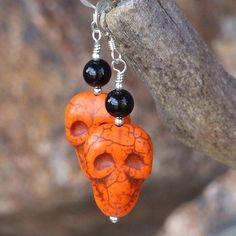 Day of the Dead Skull Earrings Handmade Orange OOAK Jewelry by Shadow . -Halloween Day of the Dead Skull Earrings Handmade Orange OOAK Jewelry by Shadow . Halloween Earrings, Halloween Jewelry, Holiday Jewelry, Fall Jewelry, Bridal Jewelry, Jewelry Gifts, Jewelry Ideas, Bar Stud Earrings, Skull Earrings