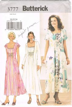 Butterick 3777 - 2000s Sewing Pattern - Size 20/22/24 - Misses' Dress