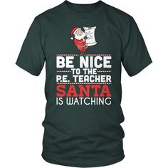 53bdc65912d Phys Ed - Be Nice Holiday - District Unisex Shirt   Dark Green   S -