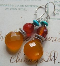 Butterscotch Sunset  - faceted chalcedony, carnelian and turquoise sterling earrings handcrafted by me!