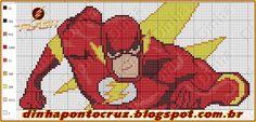 Boa quinta feira a todos!  Hoje trago um novo heroi by Dinha em ponto cruz  The Flash:     e tambem uma nova versão do homem de ferro      ...
