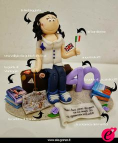 cake topper compleanno #caketopper #birthdayidea #birthdaycake #fimo #clay www.ele-ganza.it