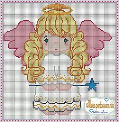Stitch And Angel, Cross Stitch Angels, Cross Stitch For Kids, Cross Stitch Designs, Cross Stitch Patterns, Crochet Patterns, Alpha Patterns, Christmas Embroidery, Plastic Canvas Patterns