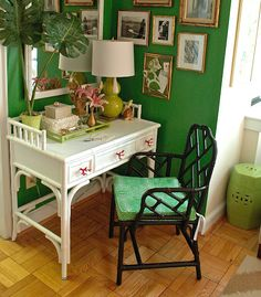 bamboo desk with gold picture frames. A favorite of mine. Recreating this vignette.