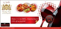 Enjoy 1+1 on IMFL, imported liquor & flat 20% off on food.