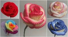 Learn How To Crochet Roses. Same principal could be applied to other flowers. Crochet bouquet?