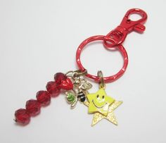 Bee Keychain Red Flower Yellow Star Smiley Face Charm Red Key Ring Lobster Claw Red Glass Rondelles Bumble Bee by WhispySnowAngel on Etsy