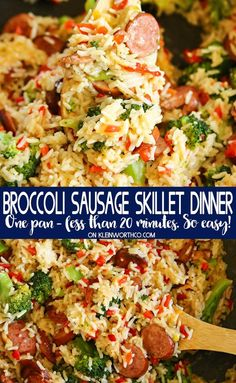 Cheesy Broccoli Sausage Skillet Dinner is a quick and easy dinner that is ready in less than 20 minutes. Perfect for those that love one pan dinner recipes. #cheesy #broccoli #sausage #skilletdinner #15minutedinner #dinnerideas #dinnerrecipes #onepandinner #rice #easyrecipes #easyfamilydinnerideas Sausage Recipes For Dinner, Smoked Sausage Recipes, Kilbasa Sausage Recipes, Polish Sausage Recipes, Sausage Meals, Venison Recipes, One Pan Dinner Recipes, Breakfast Recipes, Dinner Recipes Easy Quick