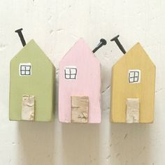 Pastel Fridge Magnets set of 3 House Magnet Set of Fridge
