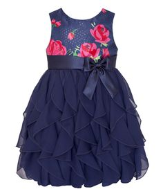 Look at this #zulilyfind! Navy & Pink Rose Ruffle Tier Dress - Infant, Toddler & Girls by American Princess #zulilyfinds