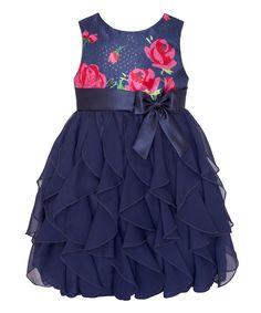 Look at this #zulilyfind! Navy & Pink Rose Ruffle Tier Dress - Infant, Toddler & Girls by American Princess #zulilyfinds