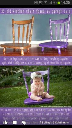 Perfect idea to make a time out chair! Use old bar stool chairs w/legs cut off!