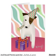 woof! Jack Russell Terrier in a party hat happy birthday card from katzdzynes on Zazzle