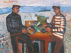 'Fishermen' by John Minton, 1949 (oil on canvas) Figure Painting, Painting & Drawing, Character Illustration, Illustration Art, John Minton, Vintage Artwork, Magazine Art, Artist Art, Photo Art