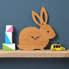 Rabbit Clock, Modern Wall Clock, Childrens Clock, laser cut by Owl & Otter